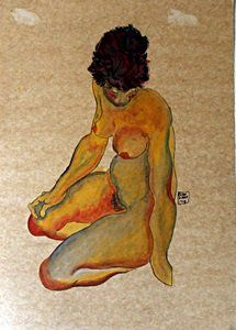 Nude Woman - Pastel and Gouache on Paper - Egon Schiele
