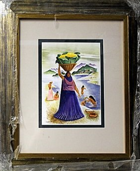 Watercolor On Paper By Miguel Covarrubias