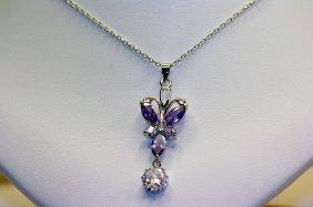 Lady's Beautiful Amethyst & White Sapphire Pendant