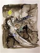 Original Watercolor Signed Chagall