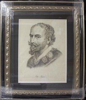 Lead Portrait On Paper, Signed Paul Rubens