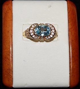 Lady's Topaz And White Sapphire Silver Ring.