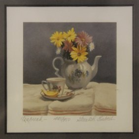 "Lithograph ""tea Break"" By Gerald Lubeck"