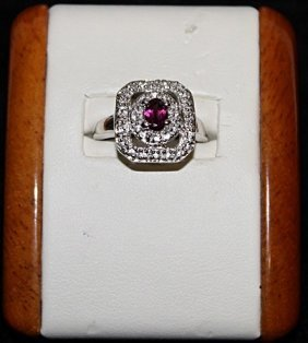 Very Fancy Ruby With White Sapphires Silver Ring.