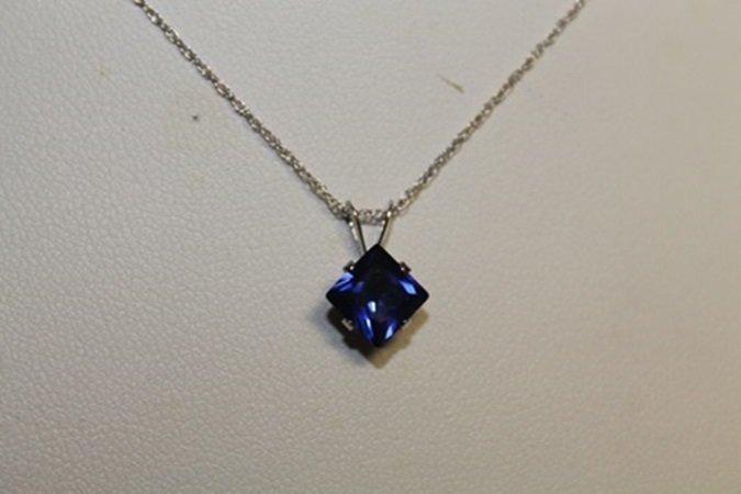Lady's Fancy Lab Blue Sapphire Pendant with 18kts Gold