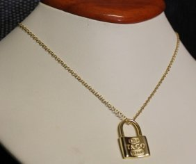 Stylish Silver Over Gold Lock Necklace.