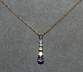 Lady's 10kts Pendant With 18'' Chain Pink, Yellow &