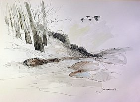 Original Water Color Drawing On Laid Paper - Signed By