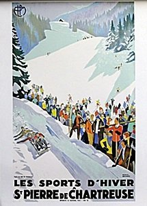 """Lithograph """"les Sports D'hiver"""" After Roger Broders"""