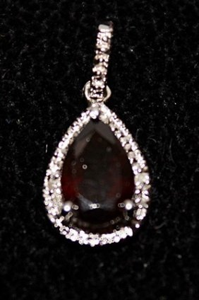 Beautiful Garnet With Diamond Pendant.