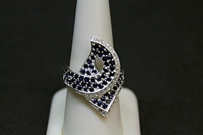 Lady's Fancy Blue and White Sapphire Silver Ring.