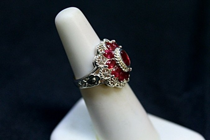 Lady's Fancy Antique Style Ruby Pegeon Blood Silver