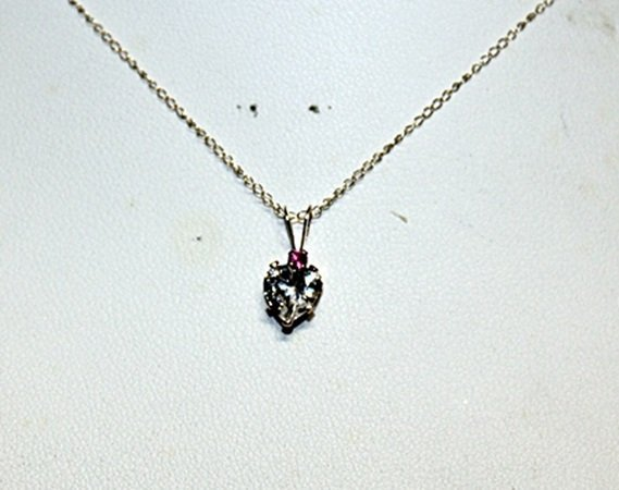 Beautiful White Sapphire Heart Pendant Necklace.