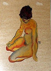 Nude Woman - Pastel And Gouache On Paper - Egon Schiele