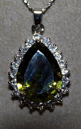 Fancy Green Peridots & White Sapphire Necklace.