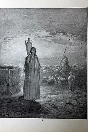"""The Dore Bible Gallery """"Jacob Tending the Flocks of"""