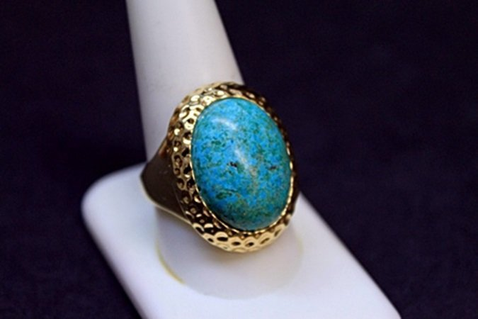 Unisex Fancy Turquoise Silver Ring.