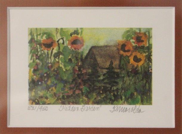 """Lithograph """"Hidden Garden"""" By Kathleen Morolda"""