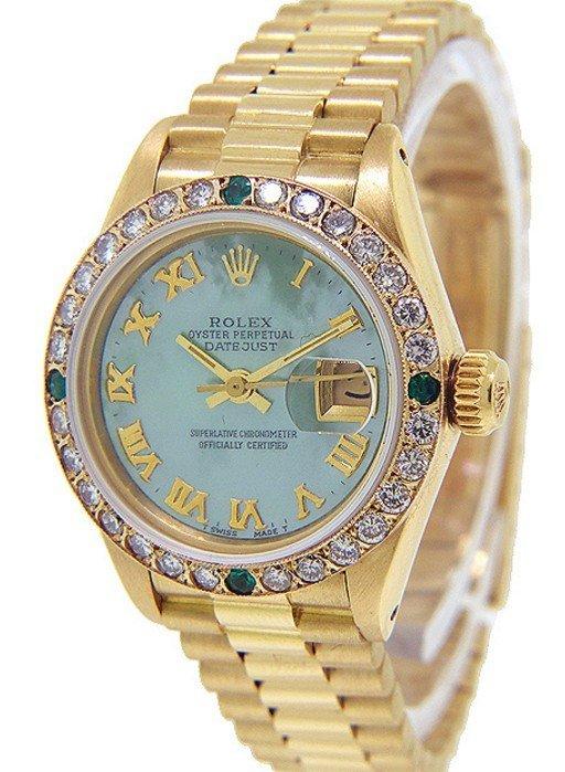Women's 18K Gold Diamond & Emerald President Rolex
