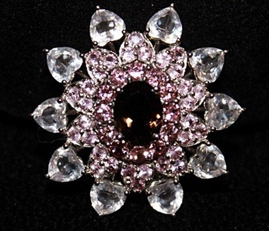 Beautiful Garnet, Pink & White Sapphires Pendant.