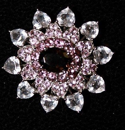 Beautiful Garnet, Pink & White Sapphires Pendant. - 2