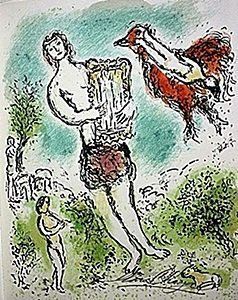 "Lithograph ""Theoclymenus"" by Chagall from the Odyssey"