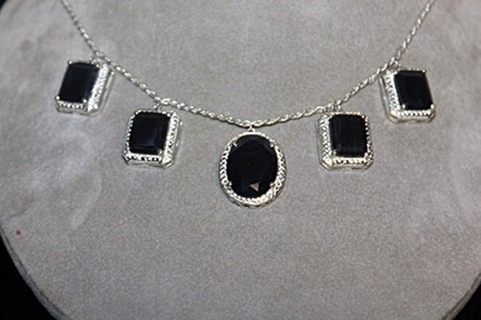 Beautiful Sapphires Silver Necklace.