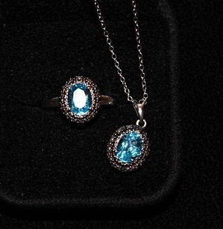 Very Fancy Royal Blue Topaz Ring & Prndant.