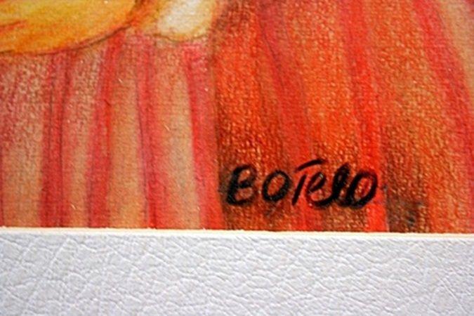 Original Color Pencil on laid paper - signed  Botero - 2