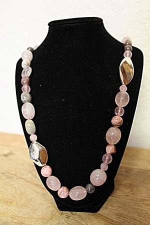 Pink Tourmaline and Sapphire Necklace