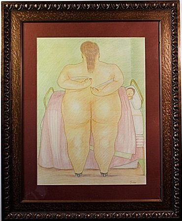 Color Pencil on laid paper - signed  Botero