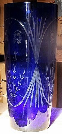 Tall Blue Turkey Crystal Vase