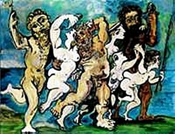 Silenus dancing in company-Collection Domaine Picasso