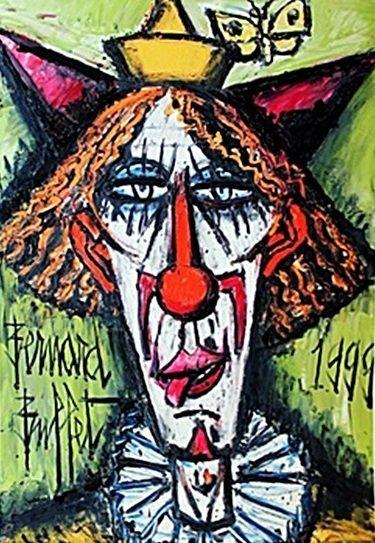 """Lithograph """"Red Head Clown"""" by Bernard Buffet (CC)"""