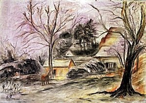 The Village In EragnyPastel On Paper - Camille Pissarro
