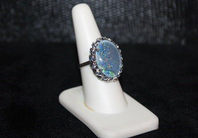 Lady's Fancy Jade & Black Opal Ring. (294J)