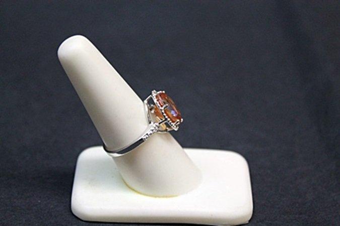 Very Unique White Gold Orange Citrine & Diamond Ring. - 2
