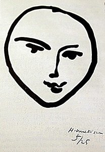 "Lithograph ""Tete De Face""  Henri Matisse"