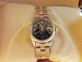 Women Date Just 18k Gold Rolex Watch