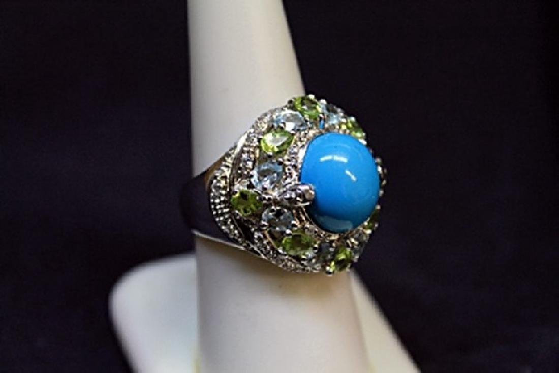 Antique Turquoise White Sapphire Perry Dots Ring.