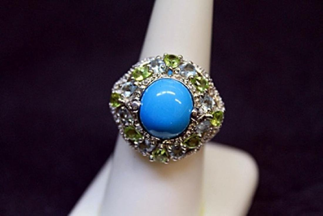 Antique Turquoise White Sapphire Perry Dots Ring. - 2