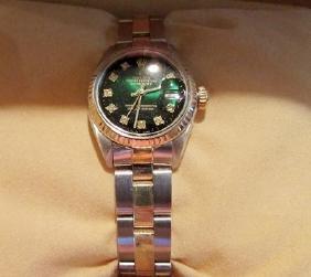Women Diamond Emerald 18k Gold Rolex Watch