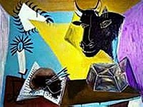 Still life with candle, Palette and black bull's