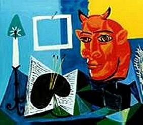 Still life with Candle, Palette and red head of