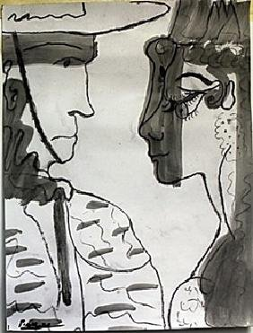 Drawing and Gouache on Paper Signe Pablo Picasso