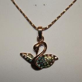 Beautiful Tricolor Swan Pendant Neckalce.