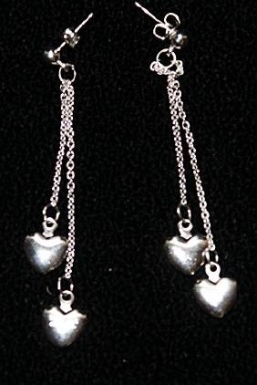 Beautiful Silver Heart Shape Earrings.