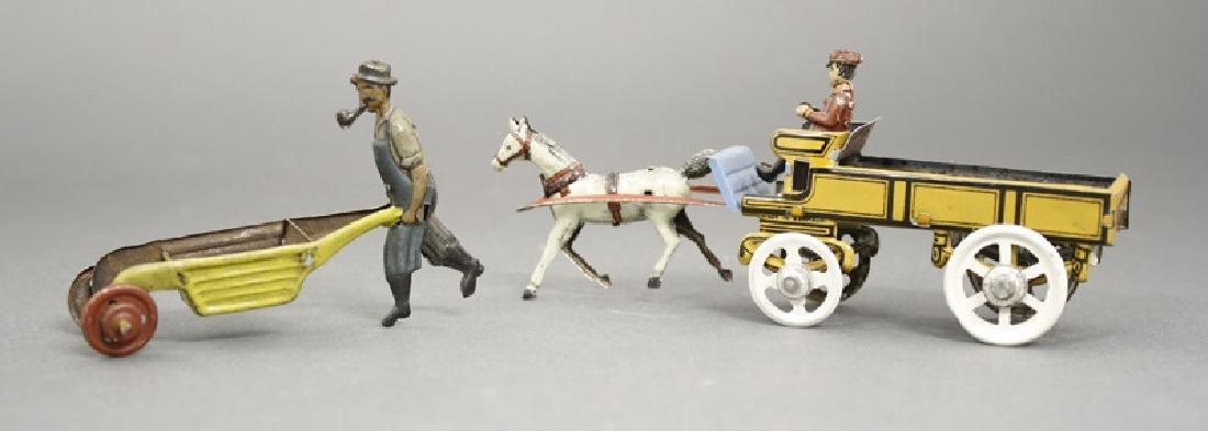Horse Drawn Dray /Man with Wheelbarrow