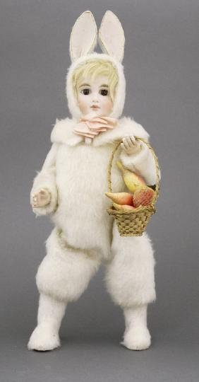 Girl in Bunny Costume with Fruit Basket