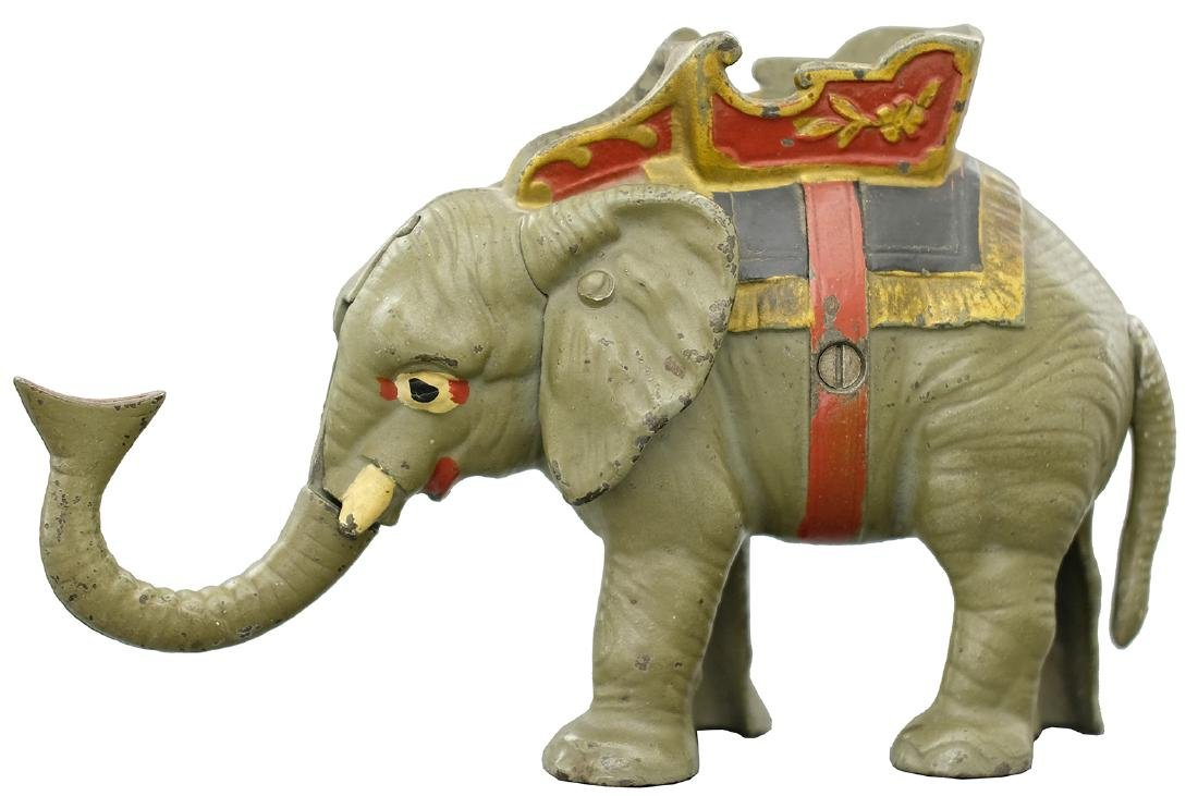 Trick Elephant with Howdah Finished in Gray, Red & Blue